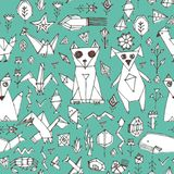 Seamless pattern with Dog cat fox fish birds sea animals and plants, Black outline on blue green background, doodle decorative ele. Ments Stylized origami Royalty Free Stock Photos