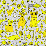 Seamless pattern with Dog cat fox fish birds sea animals and plants, Black outline Mustard yellow on grey background, doodle decor Stock Images