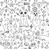 Seamless pattern with Dog cat fox fish birds sea animals and plants, Black outline on white background, doodle decorative elements. Stylized origami. trendy Stock Images