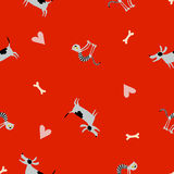 Seamless vector pattern with dog and cat. Seamless pattern with dog and cat. Hearts and bones Stock Images