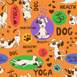 Seamless pattern with dog doing yoga position. Stock Image