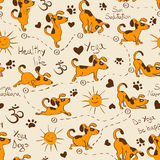 Seamless pattern with dog doing yoga position of Surya Namaskara Royalty Free Stock Images