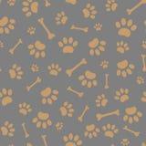Seamless pattern of dog paw prints stock photos