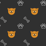Seamless pattern with dog, paws and bones Stock Image