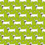 Seamless pattern - dog profile, paw trace isolated on green background stock illustration