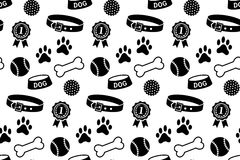 Seamless pattern with dog's stuff Stock Photos