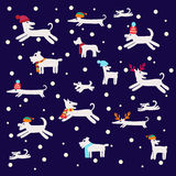 Seamless pattern with dog silhouettes Stock Photos