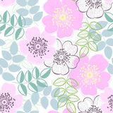Seamless  pattern with a dogrose. Hand-drawn abstract flor Royalty Free Stock Photography