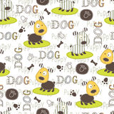 Seamless pattern with dogs Stock Photo