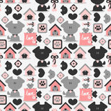 Seamless pattern with dogs vector illustration