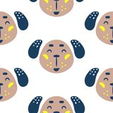 Seamless pattern with dogs cute childish baby textile fabric seamless print. Vector Illustration