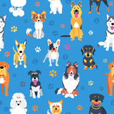 Seamless pattern with dogs flat design Royalty Free Stock Photo
