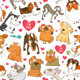 Seamless pattern with dogs and hearts Royalty Free Stock Photo