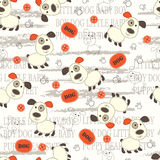 Seamless pattern with dogs, paws, bones and lettering Stock Image