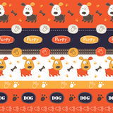 Seamless pattern with dogs, paws, bones and lettering Royalty Free Stock Photos