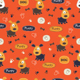 Seamless pattern with dogs, paws, bones and lettering Royalty Free Stock Photography