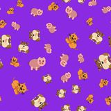 Seamless pattern of dogs pig and cat stock illustration