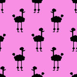 Seamless pattern. Dogs on a pink background. Black dog on a pink background stock illustration