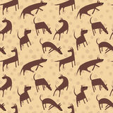 Seamless pattern with dogs. Simple vector style animals. Backgro. Und with cute pets characters. Vector illustration. Brown colors Stock Photos