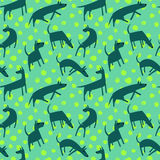 Seamless pattern with dogs. Simple vector style animals. Backgro. Und with cute pets characters. Vector illustration. Green and blue colors Royalty Free Stock Photo