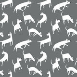 Seamless pattern with dogs. Simple vector style animals. Background with cute pets characters. Vector illustration. Black, grey and white colors Stock Photo
