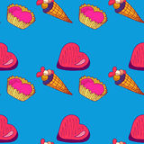 Seamless pattern Dolce vita. Seamless pattern with sweets. The  illustration drawn with hands. Cute background Royalty Free Stock Photos