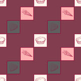 Seamless pattern Dolce vita. Seamless pattern with sweets. The  illustration drawn with hands. Cute background Stock Photos
