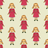 Seamless pattern with doll. Wallpaper background with toy for kids. Vector illustration Stock Photography