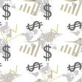 Seamless pattern dollar and chart . Royalty Free Stock Photo