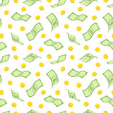 Seamless pattern with dollars and gold coins Royalty Free Stock Photos