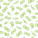Seamless pattern with dollars Royalty Free Stock Photo