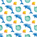 Seamless pattern with dolphin and fish ball coral. Seamless pattern with tropical dolphin and fish ball coral. Vector illustration vector illustration