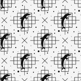 Seamless pattern with dolphin. Vector illustration. Eps 10 Stock Photo