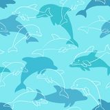 Seamless pattern with dolphin on white. design for holiday greeting card and invitation of baby shower, birthday, child clothes, s. Ummer holidays, beach party Royalty Free Stock Photos