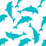 Seamless pattern with dolphins Royalty Free Stock Photos