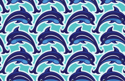 Seamless pattern with dolphins Royalty Free Stock Photography