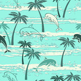 Seamless pattern with dolphins and palm trees. Summer background Royalty Free Stock Images