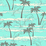 Seamless pattern with dolphins and palm trees. Summer background Stock Images