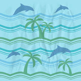 Seamless pattern with dolphins Stock Photos