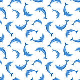 Seamless pattern with dolphins. Vector illustration. Stock Images