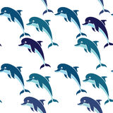 Seamless pattern with dolphins on a white background. Royalty Free Stock Images