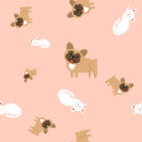 Seamless pattern of domestic animals on a pink background. Stock Photo