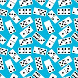 Seamless pattern with Domino on blue background. Board game. Vector illustration. Stock Image