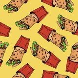 Seamless pattern of doner kebab. Roll, chicken roll, fast food, kebab, shawarma. Cartoon style. Hand drawn vector illustration vector illustration