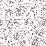Seamless pattern of doner kebab. Roll, chicken roll, fast food, kebab, shawarma. Cartoon style. Hand drawn vector illustration royalty free illustration