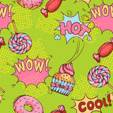 Seamless pattern of donuts, candies and lollypops Royalty Free Stock Photography