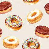 Seamless pattern with donuts on canvas texture Stock Image