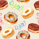 Seamless pattern with donuts on canvas texture Royalty Free Stock Photo