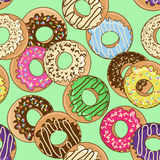 Seamless pattern of donuts Royalty Free Stock Photos