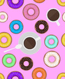 Seamless pattern with donuts and cups of coffee. Royalty Free Stock Photography